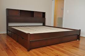 Low Profile Bedroom Furniture Dark Varnished Iron Wood Low Profile Bed Frame With Tall Shelf