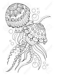 jellyfish coloring book vector ilration stock vector 74045711