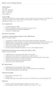 Resume Templates Quality Assurance Manager Control Harryho Co