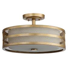 great veil 3 light antique gold semi flush mount light