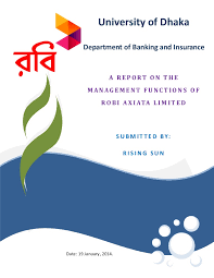 Report Cover Page Impressive Cover Page The Management Functions Of Robi Axiata Ltd