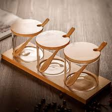 <b>3pcs</b> set <b>Creative</b> Transparent Glass Kitchen <b>Spice</b> Jar Three-piece ...
