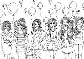 Kleurplaat Meisjes Ballonnen Creachick