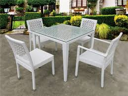outdoor metal furniture aluminum rattan wicker dining set with cushions