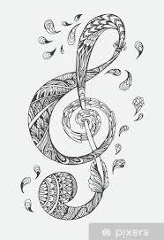 Fototapeta Vinylová Ručně Kreslená Hudební Klíč S Etnické Ornamenty Doodle Vzorem Vektorové Ilustrace Henna Zentangle Stylizované Pro Obal Knihy Nebo