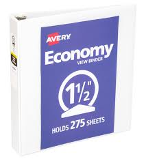 Avery 1 1 2 Inch Binder Avery Economy View Round Ring Binders For 8 1 2 X 11 Inch Paper 275