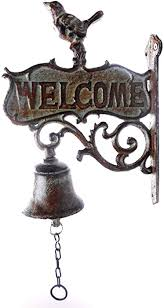 udi cast iron welcome bell with bird