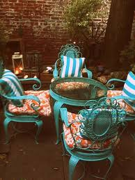 turquoise and orange patio furniture spray paint wrought iron metal set rugged life