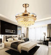 2018 42 inch led luxury invisible ceiling fan light ceiling crystal fan light with remote control simple modern retractable belt pendant lamp from ok360