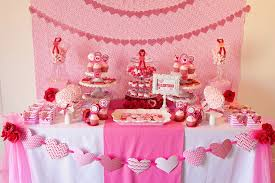 Decorations:Pink Valentine Party Table Decoration Ideas With Heart Shape  Ornament And White Table Cloth