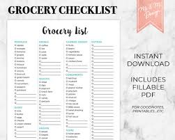 Grocery Checklist Grocery Checklist