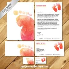 Watercolor Baby Clothing Store Business Card Set Vector Premium