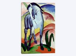 horse canvas blue horse by franz marc 1 piece canvas artwork black and white horse canvas