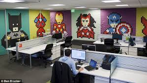 Ebay Sydney Office A Graphic Designer Sick Of His Drab Office Walls Decided To Spruce Up Work Space Ebay Sydney