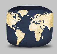 world map round pouf ottoman in navy blue project cottage