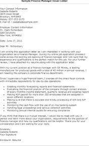 Qa Manager Cover Letter Sample Application Letter For A Finance Manager Position Finance