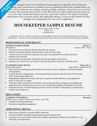 Resume Template Housekeeper Resume Samples Free Creative Sample Unique Housekeeper Resume