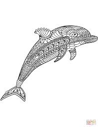 Dolphin Zentangle Coloring Page Free Printable Coloring Pages
