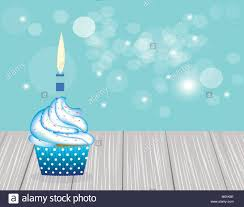 Cupcake With Blue Candle On Blue Blurred Background Birthday Card