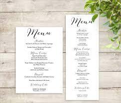 Free Wedding Menu Card Templates Free Wedding Menu Templates