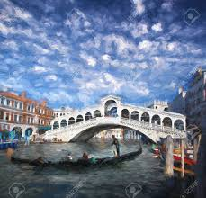 famous rialto bridge in venice italy oil painting stock photo 35428482