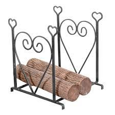 wrought iron fireplace log holder heart