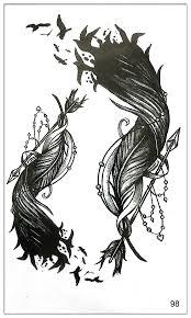 водонепроницаемый временные татуировки стикеры On Body Art черное перо Water переводная