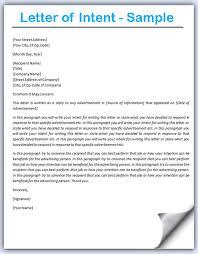 Letter Of Intent Sample Bravebtr