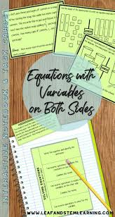 solving equations with variables on both sides interactive notebook activity task cards models