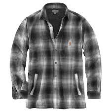 carhartt men s hubbard plaid flannel sherpa lined shirt jac zoom gravel gravel