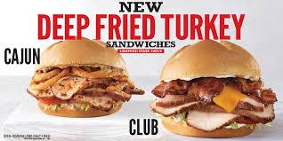 arby s new deep fried turkey sandwiches club cajun gobbler