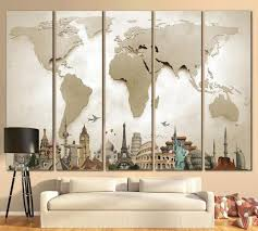 3d effect world map 702 ready to hang canvas print on living room wall art images with living room wall art at zellart canvas arts