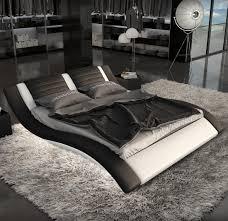Led Bedroom Furniture Lignato Modern Black White King Bed With Led Lighting House