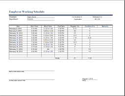 work time schedule template employee work schedule format word excel templates