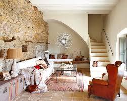 ... stone wall living room design ideas