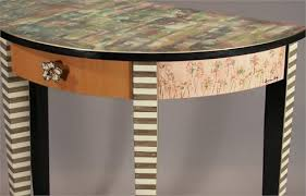 hand painted furnitureRectangular Hall Table CaramelCobalt from Suzanne Fitch