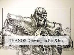 drawing thanos from infinity war avengers sketch in pen and ink