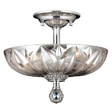 mansfield collection 3 light chrome finish and clear crystal bowl semi flush mount ceiling light 12