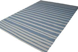 light blue off white striped cotton rug