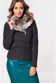 more views sassy faux fur collar biker jacket