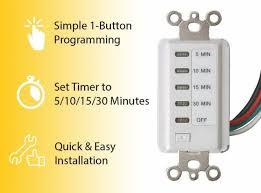 Timer 15 Bathroom Fan Auto Shut Off Timer 5 10 15 30 Minute Preset Countdown Wall Switch