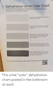 Dehydration Chart Urine Color Dehydration Urine Color Chart The Following Dehydration
