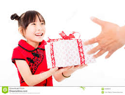 Small Picture Happy Chinese New Yearlittle Girl Giving Gift Box Stock Photo
