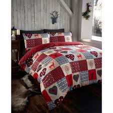 portfolio rustic stags patchwork duvet cover set red