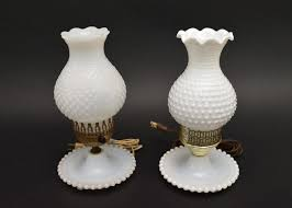 milk glass hobnail electric hurricane table lamps victorian