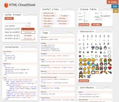 html reference sheet online interactive html css javascript cheat sheets