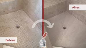 before and after picture of a shower grout cleaning in jacksonville beach fl