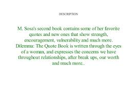 Book Dilemma The Quote Book By M Sosa Full Download^ Books Magnificent Download Favorite Qoute