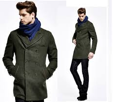 wool mens long pea coat roll over the image to view it