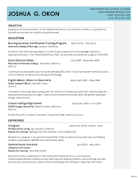 Resumes Cna Sample Resume Moa Format No Experience With Nursing